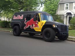 Just A Big Ass Red Bull Truck Parked In Front Of A House. Extremely ...