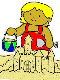 600x800 Kid Playing Sand Castle On The Beach Coloring Page