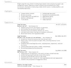 Resume Legal Secretary Sample For Objectives Examples This Is