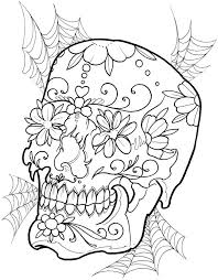 Dover Creative Haven Floral Skull Tattoo Designs Color Page