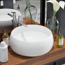 vidaxl waschbecken rund keramik weiß 41 5 x 13 5 cm