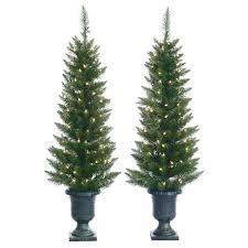 4ft Pre Lit Artificial Christmas Tree Slim Porch Pot Cedar Pine 2ct
