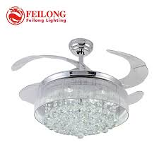 100 CRYSTAL Ceiling Fan Decorative Silver Body Retractable Blades Light Living Room LED