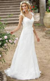 V Neck Cap A Line Lace Wedding Dress With Court Train And Illusion Back