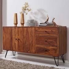 wohnzimmer sideboard aus sheesham massivholz und eisen 140 cm breit