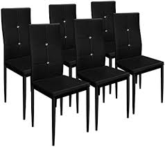 deuba 6er set esszimmerstühle gepolstert kunstleder metallbeine küchenstuhl polsterstuhl wohnzimmerstuhl stuhl schwarz