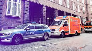 In Einer Reihe Hintereinander Stehen Ein Polizeiauto Krankenwagen Und Feuerwehrfahrzeug