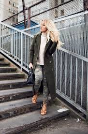 Dare To Wear Camouflage This Winter Angelica Blick Is Rocking These Khaki Jeans And Oversized