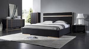 Nova Domus Cartier Modern Black & Brushed Bronze Bedroom Set