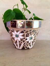 Mosaic Planter Fall Flower Pot Outdoor Handmade Terracotta Herb Patio Container Rustic Window Pots USD By MoZEHicDesigns