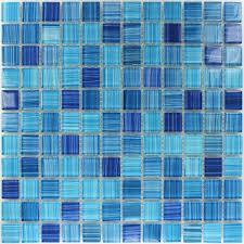 glasmosaik fliesen gestreift fliese blau mix