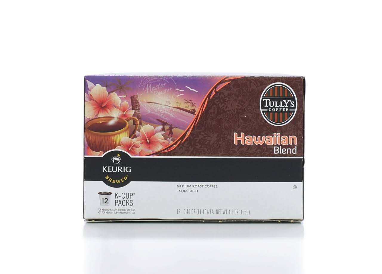 Tullys Coffee Coffee, Extra Bold Medium Roast, Hawaiian Blend, K-Cup Pods - 12 pack, 0.40 oz pods