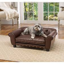 Snoozer Overstuffed Sofa Pet Bed by Sofa Dog Bed Black Real Leather Dog Sofa Bed With Fabric Cushion