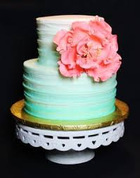 Mint Green Ombre And Corral Rustic Textured Baby Shower Cake