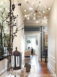 Dining Room Eclectic Hallway With High Ceiling Chandelier Digs For Farmhouse Pendant Lighting Fixtures Cross Back