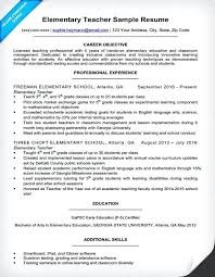 Teacher Resume Samples Example For A Elementary Teachers With No Experience