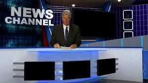 TV NEWS ANCHOR AT DESK Stock Video Footage