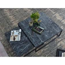 wohnling design couchtisch 2er set schwarz marmor optik