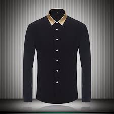 2018 Gold Color Collar Black White Mens Dress Shirts For Business Long Sleeve Slim Fit Fashion Autumn Fall Designer Clothes From Happy Weddings