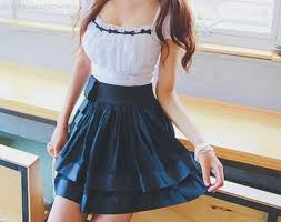 Dress White Skirt Girl Black Cute Clothes Fashion Teenagers Japanese Blue Frill One Piece