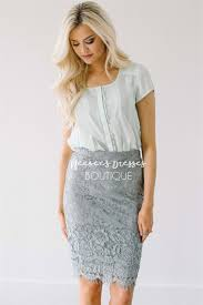 lovely gray lace skirt modest skirt for church modest