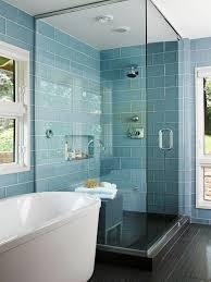 blue glass subway tile shower amazing tile