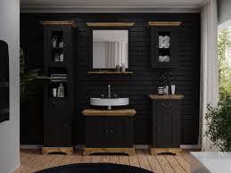 badmöbel set kenia schwarz spiegel mit ablage möbel