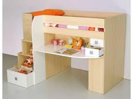 lit bureau conforama lit 90x190 cm surélevé combiné coloris érable blanc