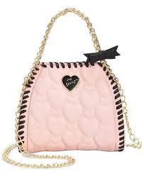 betsey johnson mini quilted chain handbag in pink lyst