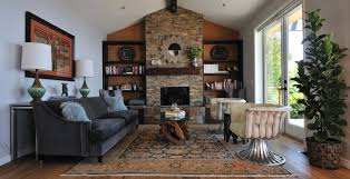Fireplace Accent Wall Ideas Living Room Transitional With Reclaimed Wood Bookshelves Cream Leather Chairs