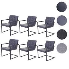 6x esszimmerstuhl hwc d33 freischwinger küchenstuhl vintage kunstleder grau