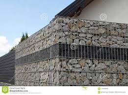 100 Gabion House A Fragment Of A Fence Made Of A Stock Image Image Of House