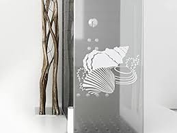 fenstersticker dekorativ mit muschel design zb als sichtschutz für das badezimmer 39x30cm