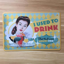 Vintage Kitchen Sign Free Ship Drink Sexy Lady Tin Metal Painting Food Wine Plate