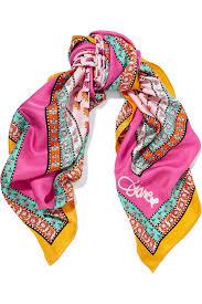 diane von furstenberg printed silk twill scarf in pink lyst