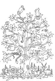 Free Coloring Page Adult Difficult Tree Bird Butterflies
