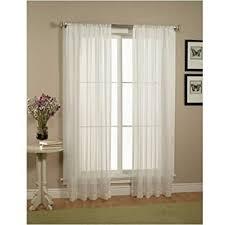 amazon com elegant comfort 2 piece solid white sheer window