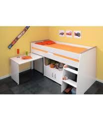 lit enfant bureau lit 1 place mi hauteur bureau et rangement intégré novomeuble