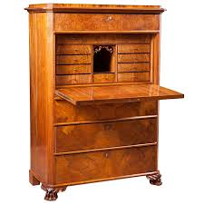Drop Front Secretary Desk Antique by Antique Swedish Fall Front Secretary In Figured Walnut C 1850