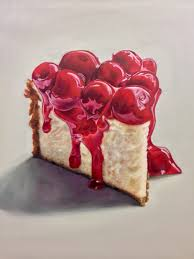 Oil painting of a slice of cherry cheesecake by Jamie Chen 24x30""