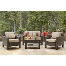 Patio Furniture Conversation Sets Home Depot by Hanover Orleans 4 Piece Patio Seating Set With Avocado Cushions