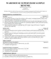 Warehouse Resume Examples Free Resumes Sample Co Production Supervisor Objective Assistant