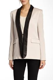 alice olivia Leather Shawl Collar Tuxedo Blazer