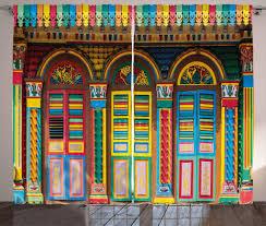 abakuhaus bunt rustikaler gardine szenen aus singapur schlafzimmer kräuselband vorhang mit schlaufen und haken 280 x 245 cm mehrfarbig