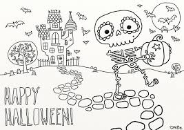 At Top Printable Skeleton Halloween Coloring Page