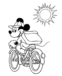 Mickey Mouse Bicycle Coloring Pages For Kids Printable Minnie
