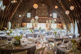 Rustic Country Wedding Reception Decorations With Round Tables And White Folding Chairs Under Chinese Lanterns