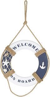 heitmann deco holz rettungsring welcome on board maritime dekoration für innen zum aufhängen wanddeko badezimmer blau weiß