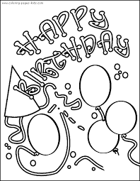 Birthday Invitation Card Color Page Holiday Coloring Pages Plate