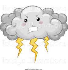 Clipart Of A Mad Storm Cloud With Lightning